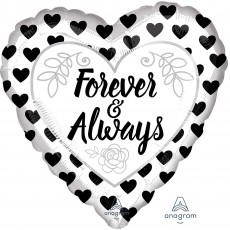 Love Party Decorations - Shaped Balloon Black & White Forever & Always