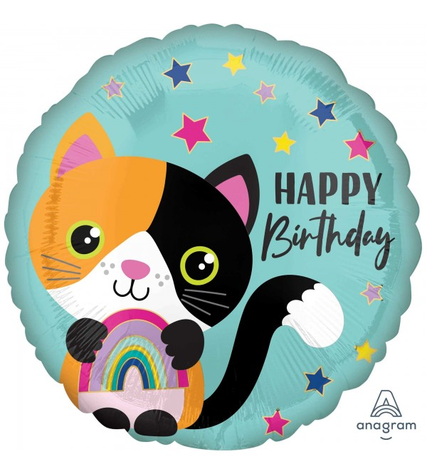 Happy Birthday Calico Cat Standard HX Foil Balloon 45cm