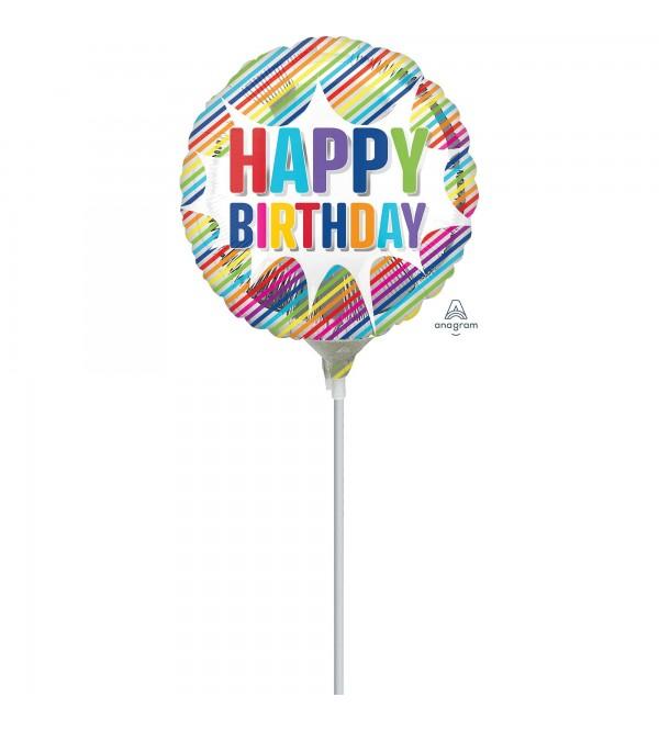 Happy Birthday Striped Burst Foil Balloon 22cm