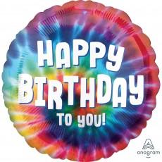 Standard HX Tie Dye Happy Birthday to You Foil Balloon 45cm