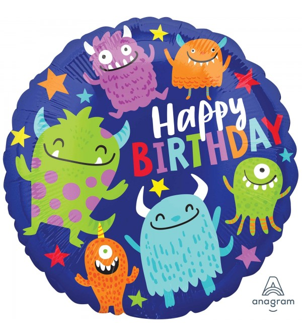 Happy Birthday Happy Little Monsters Standard HX Foil Balloon 45cm