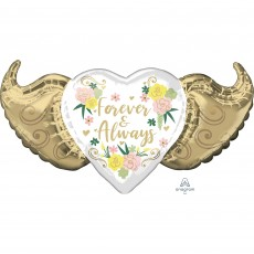 Love Party Decorations - Shaped Balloon SuperShape Floral Winged Heart