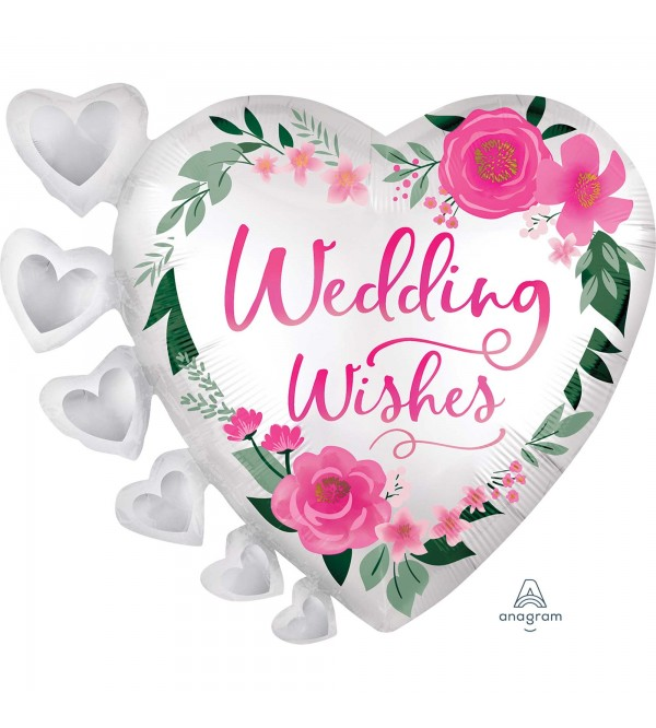 Wedding Party Decorations - Shaped Balloon Flowers & Hearts Wishes