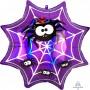 Halloween SuperShape Holographic Iridescent Spiderweb & Spiders Shaped Balloon 55cm x 55cm