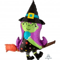 Halloween SuperShape Cute Witch on Broom Shaped Balloon 86cm x 96cm