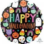 Round Standard HX Happy Faces Happy Halloween! Foil Balloon 45cm