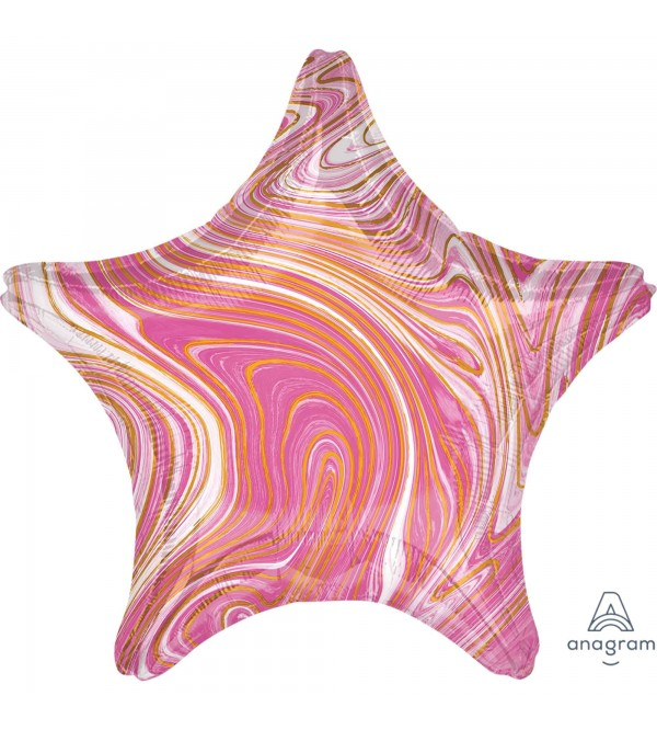 Star Pink Marblez Standard XL Shaped Balloon 45cm