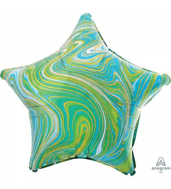 Star Green Standard XL Marblez Shaped Balloon