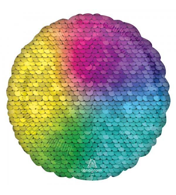 Rainbow Party Decorations - Foil Balloon Standard HX Jewel Sequins