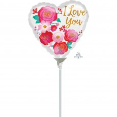 Love Party Decorations - Foil Balloon Ombre Flowers I Love You 10cm