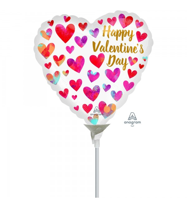 Valentine's Day Party Decorations - Shaped Balloon Painterly Hearts 22cm