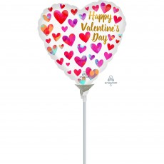 Valentine's Day Party Decorations - Shaped Balloon Painterly Hearts 10cm