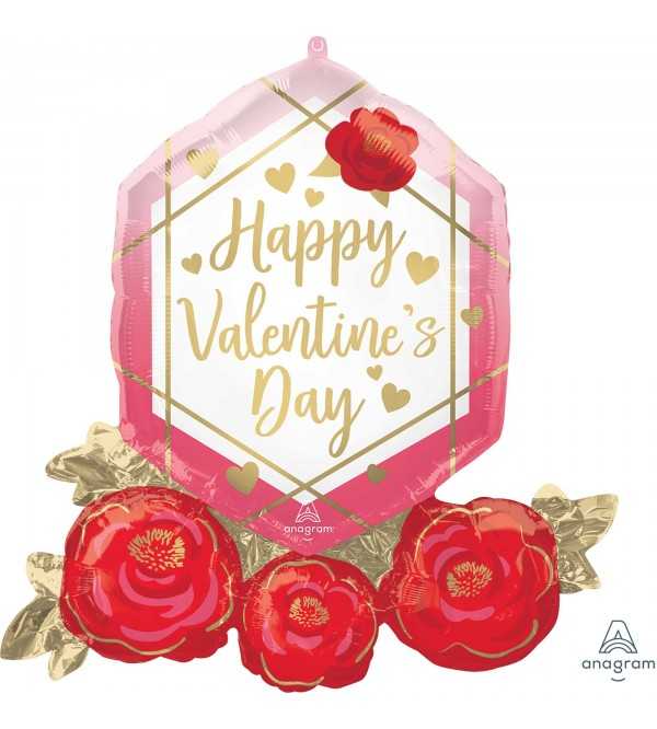Valentine's Day Party Decorations - Shaped Balloon SuperXL Gem & Roses