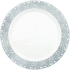 Round White with Silver Lace Border Dinner Plates 25cm Pack of 10