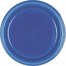 Round Navy Flag Blue Plastic Dinner Plates 22.9cm Pack of 20