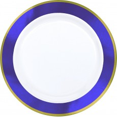 White with New Purple Border Premium Plastic Dinner Plates 25cm Pack of 10