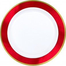 White with Apple Red Border Dinner Plates 25cm Pack of 10