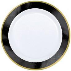 Round Jet Black Border on White Premium Lunch Plates 19cm Pack of 10