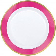Round White with Bright Pink Border Premium Plastic Lunch Plates 19cm Pack of 10