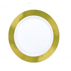 White with Gold Border Premium Lunch Plates 19cm Pack of 10