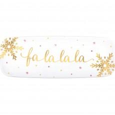 Christmas Plastic Long Serving Fa La La La Platter 16.5cm x 44.4cm