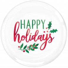 Round Christmas Happy Holidays Lunch Plates 19cm Pack of 20