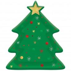 Christmas Tree Foil Dinner Plates 26cm Pack of 8