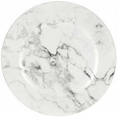 White Party Supplies - Banquet Plate Premium Charger Printed Marble Look