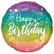 Happy Birthday Party Decorations - Foil Balloon Sparkle Standard