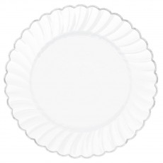 Round White with Silver Trim Premium Scalloped Dinner Plates 25cm Pack of 10