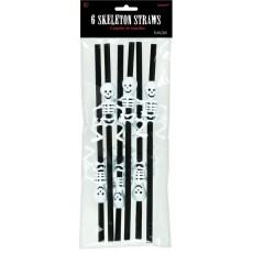 Halloween Skeleton Straws Pack of 6