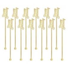 Gold Happy Birthday Plastic Drink Stirrers 19cm x 2.8cm Pack of 12