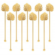 Key West Palm Leaves Electroplated Plastic Stirrers 19cm Pack of 12