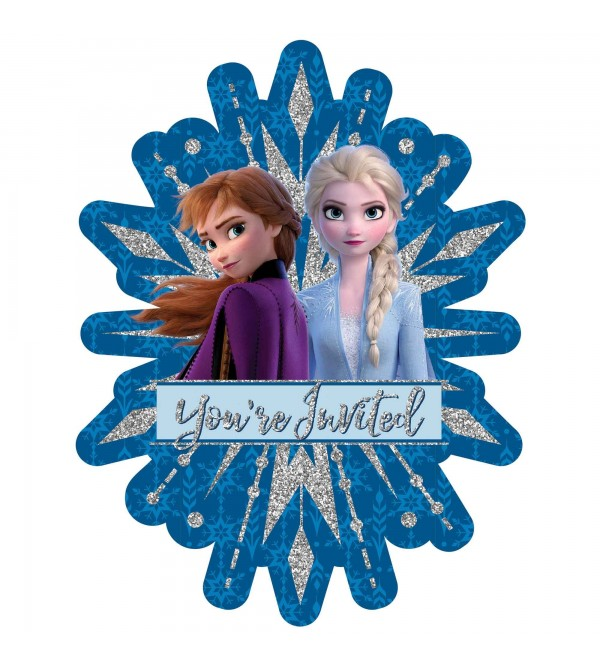 Disney Frozen 2 Jumbo Glittered Deluxe Invitations 19cm x 4cm Pack of 8