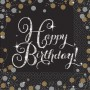 Happy Birthday Sparkling Celebration Beverage Napkins 25cm x 25cm Pack of 16