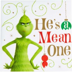 Christmas Dr. Seuss The Grinch Movie He's a Mean One Beverage Napkins 25cm x 25cm Pack of 16