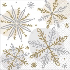 Christmas Party Supplies - Beverage Napkins Shining Snowflakes