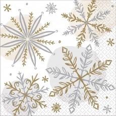 Christmas Shining Snowflakes Beverage Napkins 25cm x 25cm Pack of 16