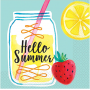 Hawaiian Luau Lemonade Hello Summer Beverage Napkins Pack of 16