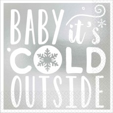 Christmas Baby It's Cold Outside Beverage Napkins 25cm x 25cm Pack of 16
