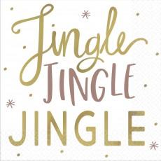 Christmas Jingle Jingle Jingle Beverage Napkins 25cm x 25cm Pack of 16