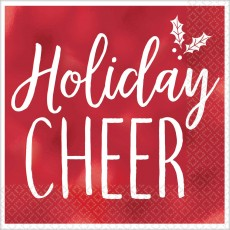 Red Christmas Holiday Cheer Beverage Napkins 25cm x 25cm Pack of 16
