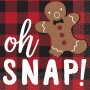 Christmas Party Supplies - Beverage Napkins Gingerbread Man & Plaid