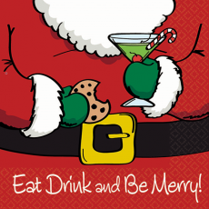 Christmas Eat Drink & Be Merry Beverage Napkins Pack of 16