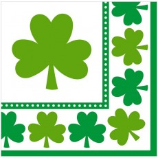St Patrick's day Lucky Shamrocks Lunch Napkins 33cm x 33cm Pack of 16