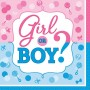 Gender Reveal Girl or Boy? Lunch Napkins 33cm x 33cm Pack of 16