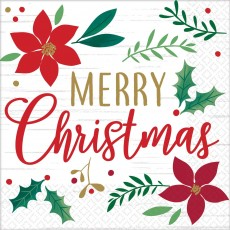 Christmas Wishes Merry Christmas Lunch Napkins 33cm x 33cm Pack of 16