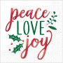 Christmas Peace Love Joy Lunch Napkins 33cm x 33cm Pack of 16