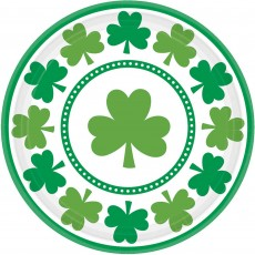 Round St Patrick's day Lucky Shamrocks Lunch Plates 17cm Pack of 8
