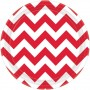 Round Apple Red Chevron Design Paper Lunch Plates 17cm Pack of 8